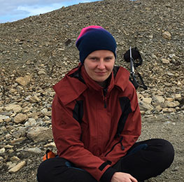 PhD candidate Magdalena Wutkowska on fieldwork in Svalbard
