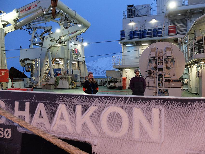 UNIS PhD candidate Kjersti Kalhagen and Nansen Legacy data manager Luke Marsden on board R/V Kronprins Haakon in Longyearbyen.