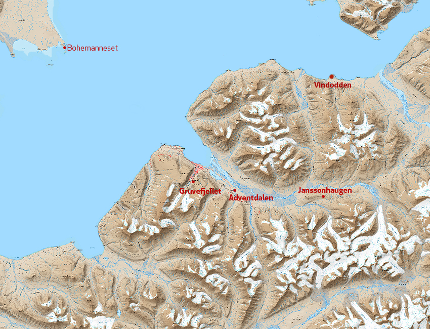 Map of UNIS weather stations around Isfjorden, Svalbard