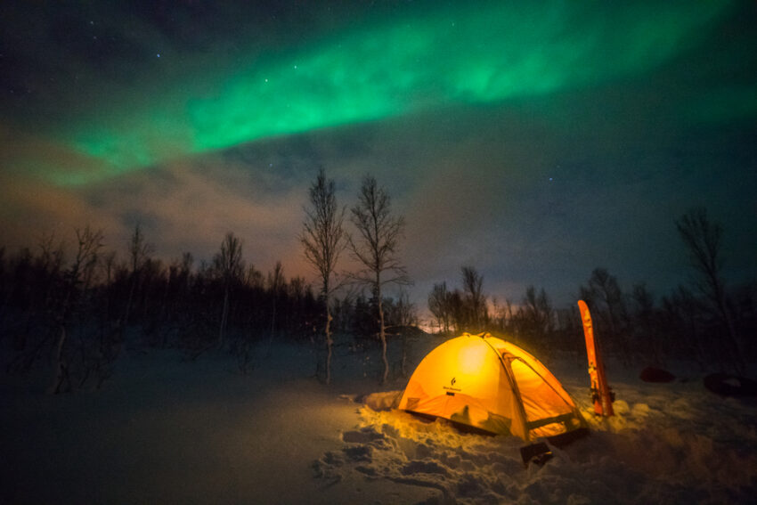 Camping under the northern lights in Finnmark.