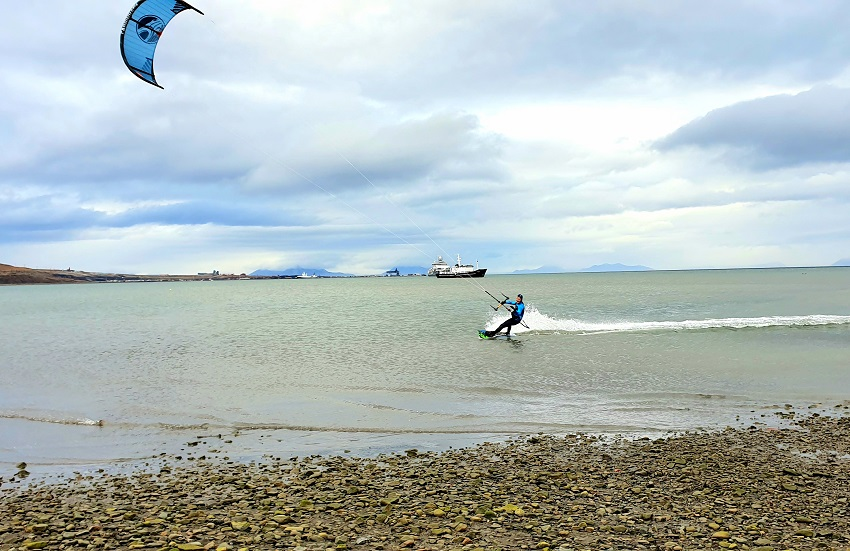 Kite surfing outside Longyearbyen harbour