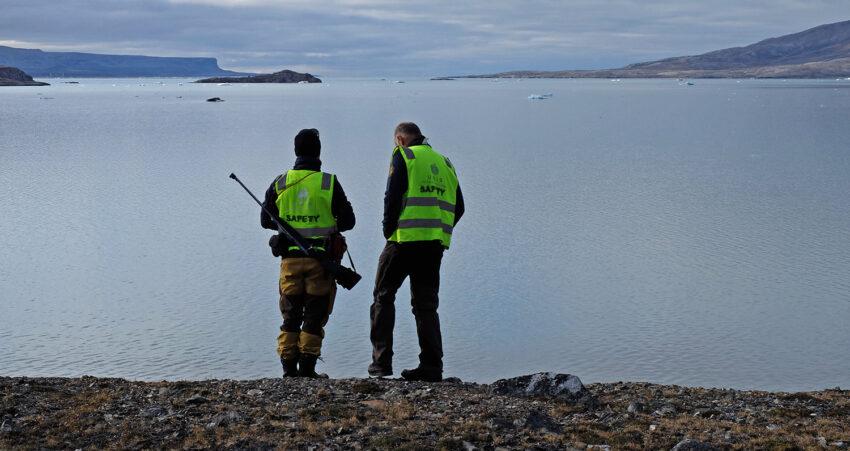 Christian Zölly og Harald Steen på Ossian Sarsfjellet. Svalbardkurset 2018
