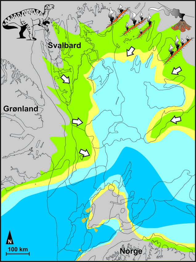 Map of the Arctic 125 million years ago