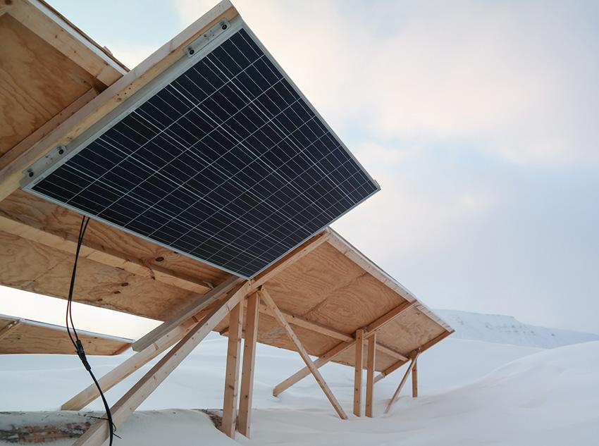 Solar panel in Adventdalen Svalbard