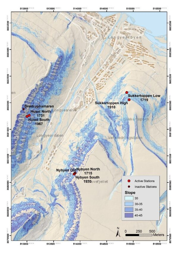 Map of snow sensors installed around Longyearbyen