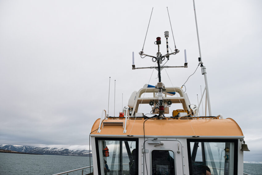 Mobile weather station on top of MS Bard.