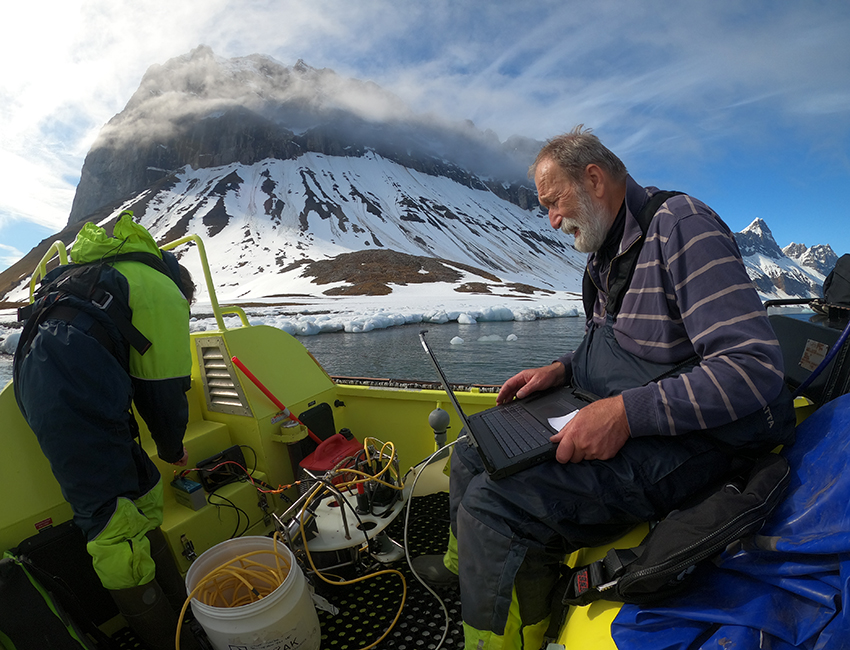 Equipment and persons onboard small boat in Svalbard
